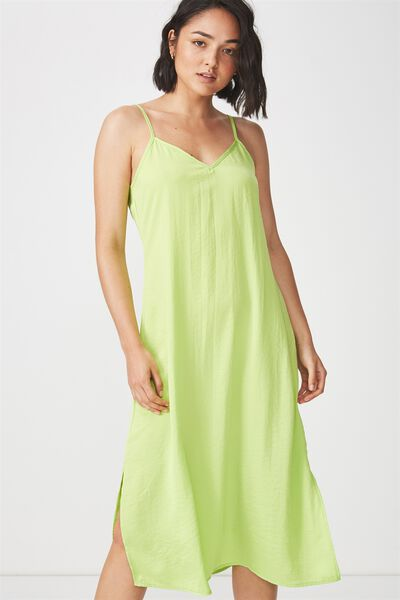 Woven Satin Midi Dress, GREEN GLOW