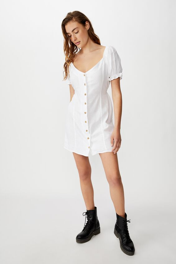 Woven Aurora Short Sleeve Mini Dress, WHITE