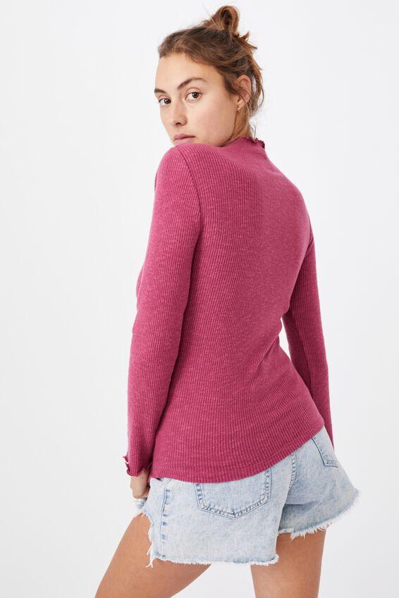 Leona Lettuce Long Sleeve Top, CRIMSON PINK