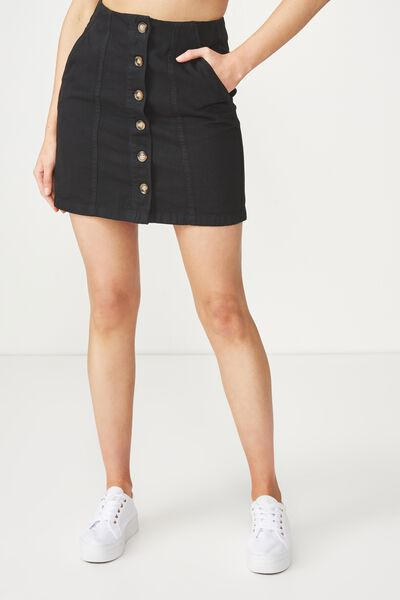 Button Through Denim Skirt, BLACK