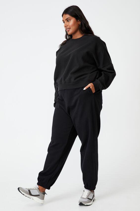 Curve Classic High Waist Track Pant, BLACK