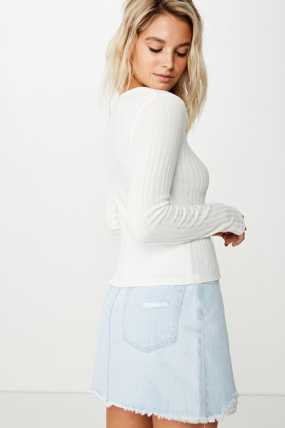 Bindi Rouched Front Long Sleeve Top, GARDENIA