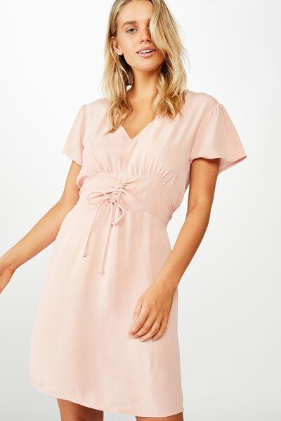 Woven Marissa Gathered Front Mini Dress, MISTY ROSE