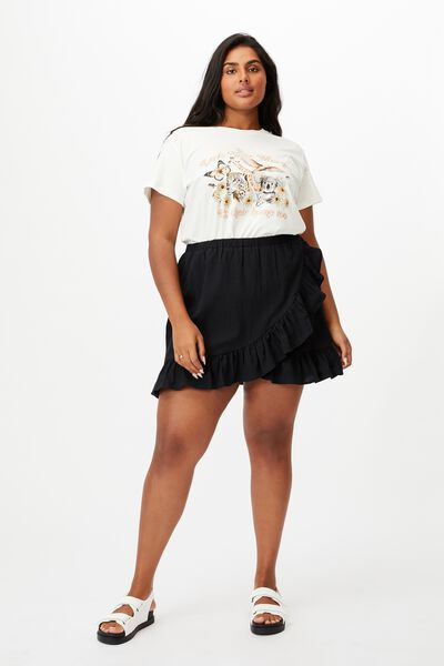 Curve Ruffle Beach Mini Skirt, BLACK