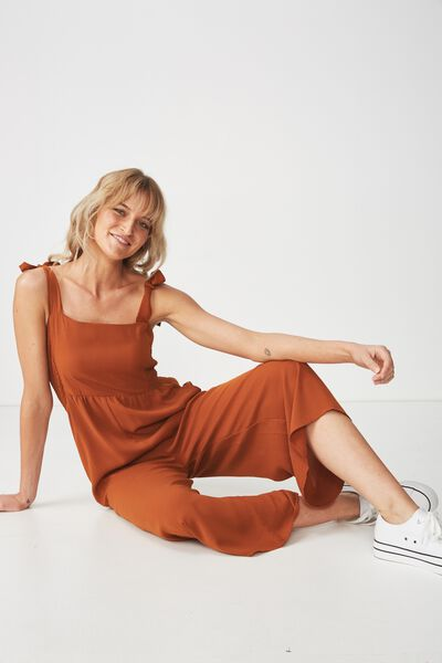 Woven Alexa Strappy Jumpsuit, UMBER BROWN