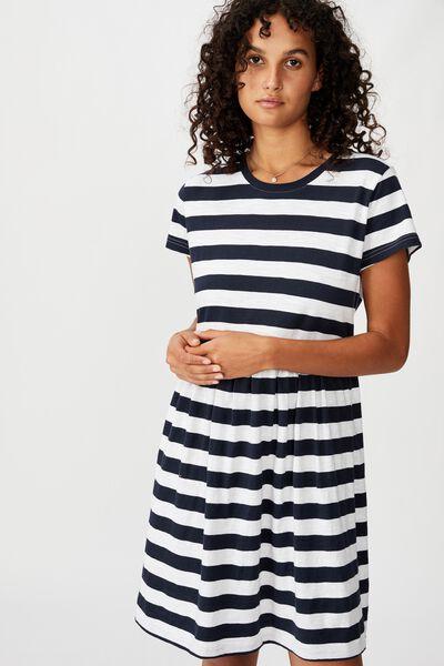 Tina Babydoll Tshirt Dress, COCO STRIPE MOONLIGHT/WHITE