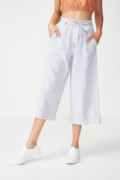 High Waist Culotte 2, LIV EVEN STRIPE BLACK AND WHITE