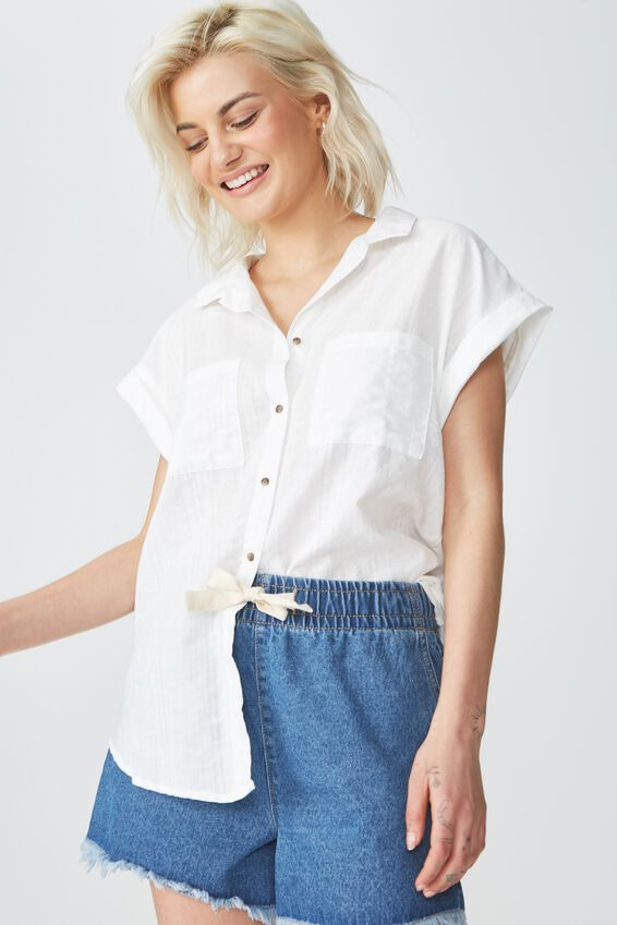 Emily Short Sleeve Shirt, WHITE TEXTURED STRIPE