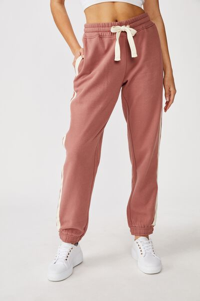 Slim Fit Trackpant, BURLWOOD/NATURAL HERRINGBONE SIDE STRIPE
