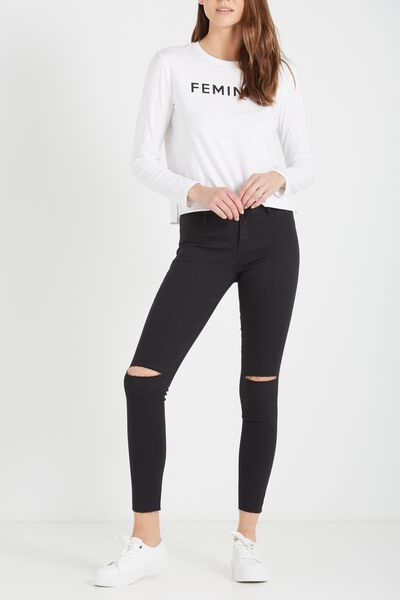Mid Rise Jegging, BLACK KNEE SLASH