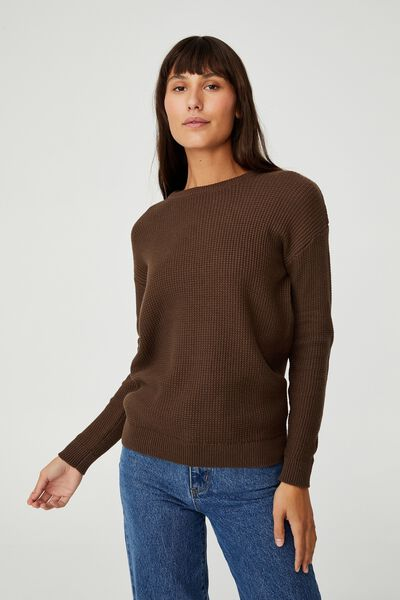 Cotton Pullover, BROWN