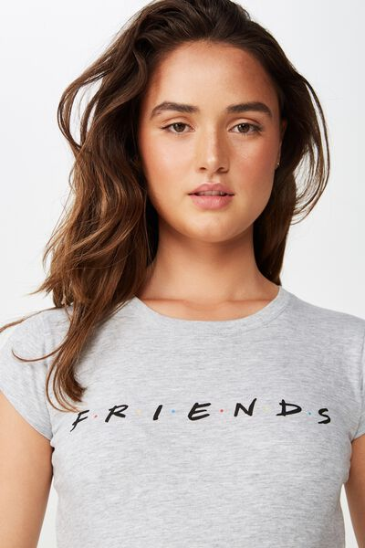 Essential Friends T Shirt, LCN WB FRIENDS LOGO/LIGHT GREY MARLE