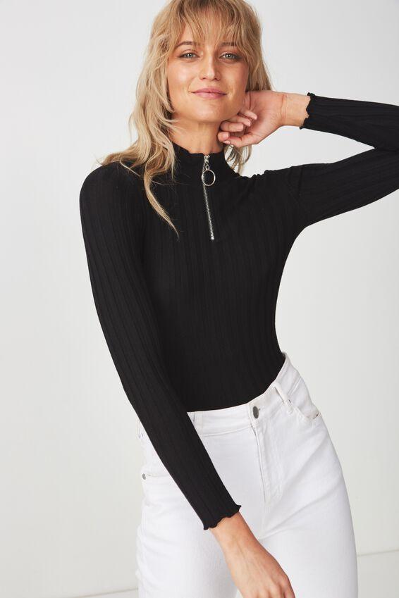 Quinny Zip Neck Pullover, BLACK