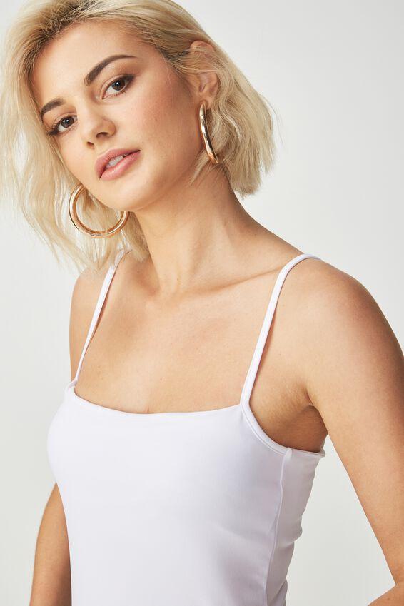 Carissa Straight Back Bodysuit, WHITE