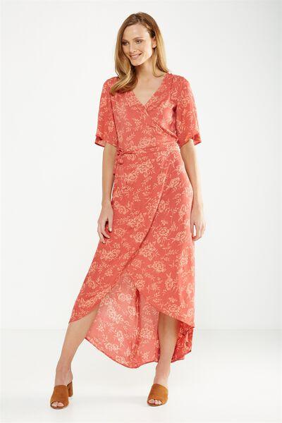 Woven Lucy Wrap Maxi Dress, CAMBRIDGE FLORAL WILD ROSE