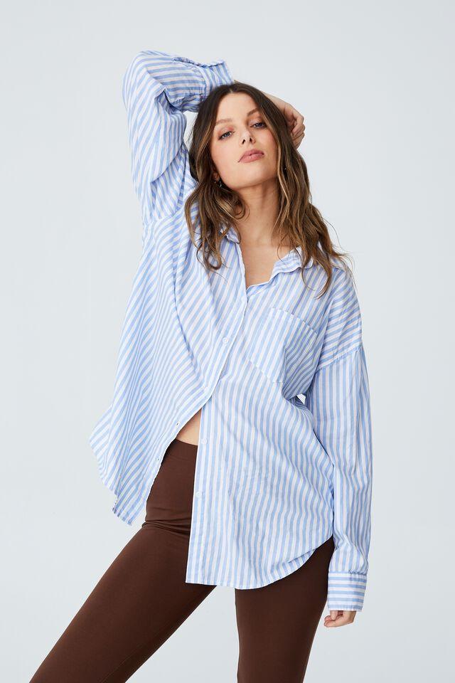 Dad Shirt, MIRA STRIPE OXFORD BLUE