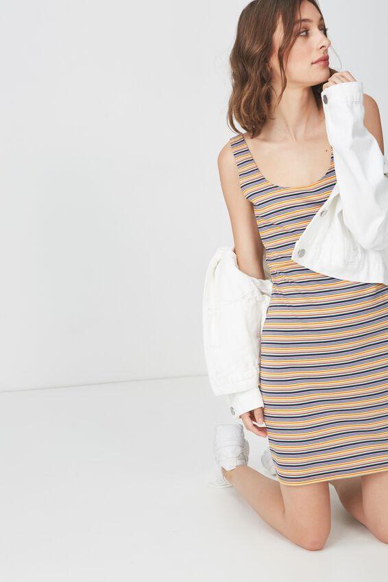 Mac Thick Strap Pinafore Mini Dress, ABI STRIPE MULTI