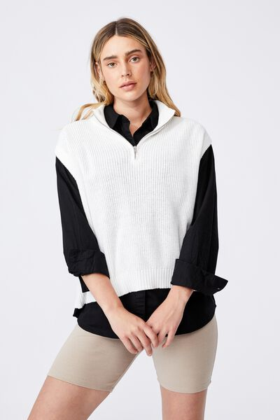 Cotton Half Zip Vest, CHALK WHITE