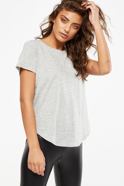 Harriet Cross Back Short Sleeve Top, GREY MARLE