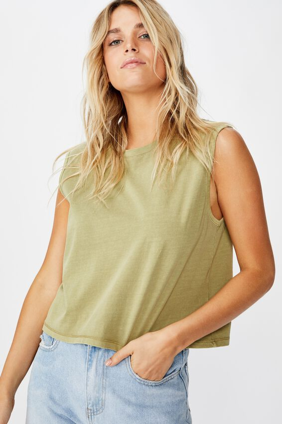 The Chop Muscle Tank, WASHED DRIED HERB