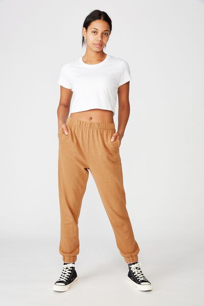 High Waisted Trackpant, BISCUIT GARMENT PIGMENT DYE
