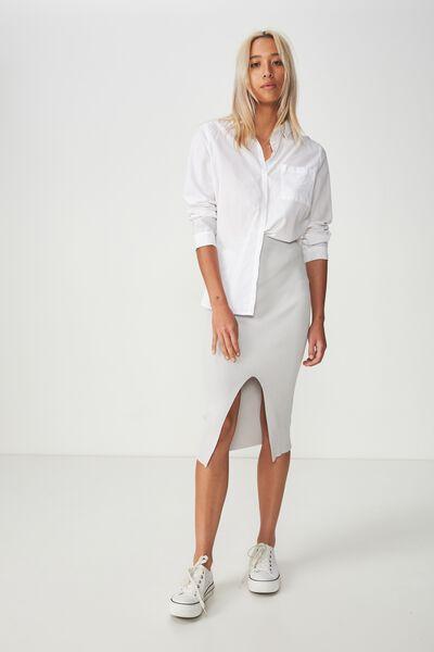 Cleo Knit Tube Skirt, GREY