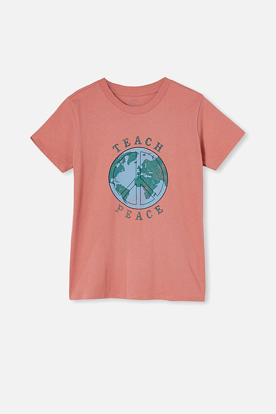 Classic Arts T Shirt, TEACH PEACE/DARK MAUVE