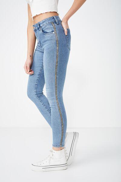 Mid Rise Grazer Skinny Jean 2, MID BLUE LEOPARD STRIPE