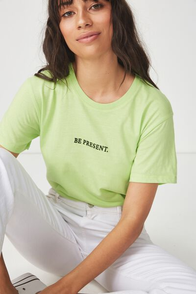 Tbar Fox Graphic T Shirt, BE PRESENT/GREEN GLOW