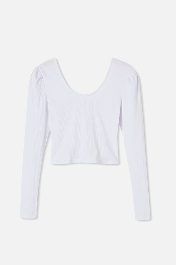 Pamela Puff Long Sleeve Top, WHITE