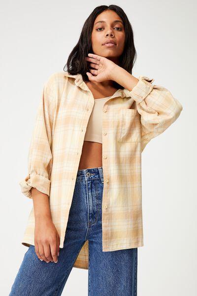 Boyfriend Shirt, CHILLI CHECK BROWN TAUPE