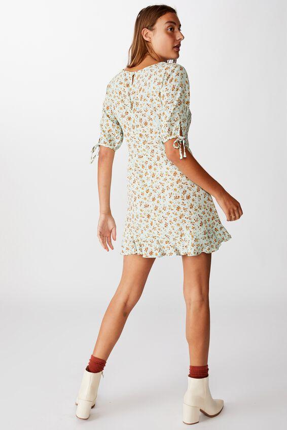 Woven Lucie 3/4 Mini Dress, ANNABEL DITSY AQUA FOAM