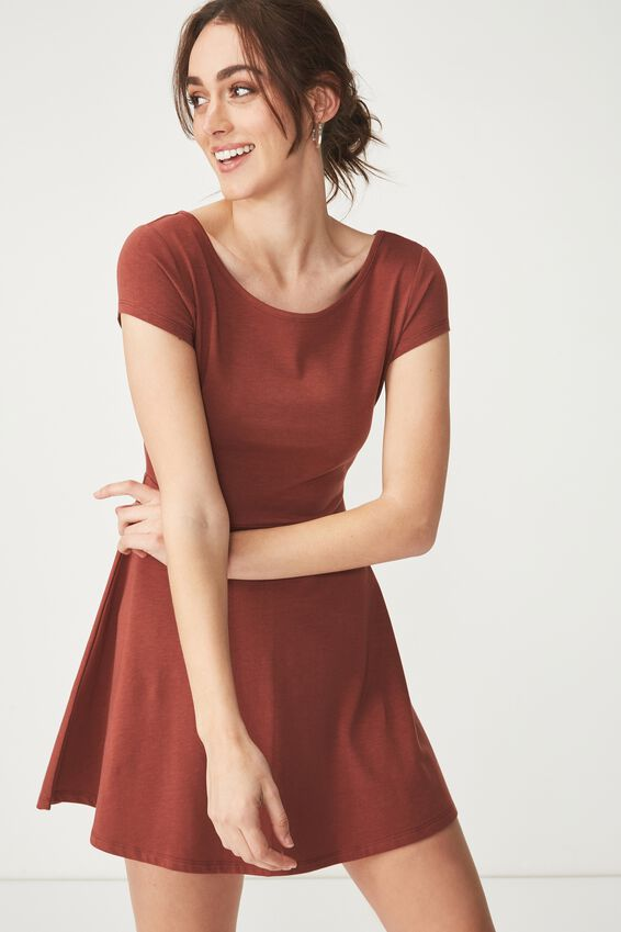 Billie Cap Sleeve Skater Dress, RICH BROWN