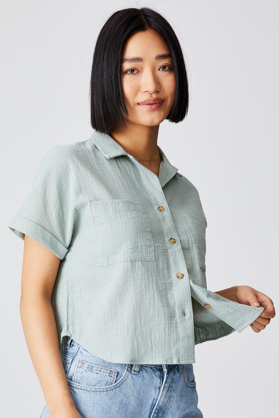 Erin Short Sleeve Shirt, LUSH GREEN