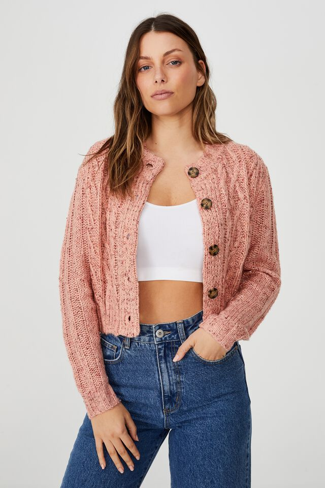 In The Mix Cabin Cable Crew Cardigan, DUSTY PINK