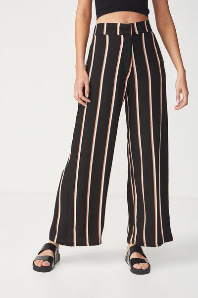 Wide Leg Drapey Pant, GEMMA VERTICAL STRIPE BLACK