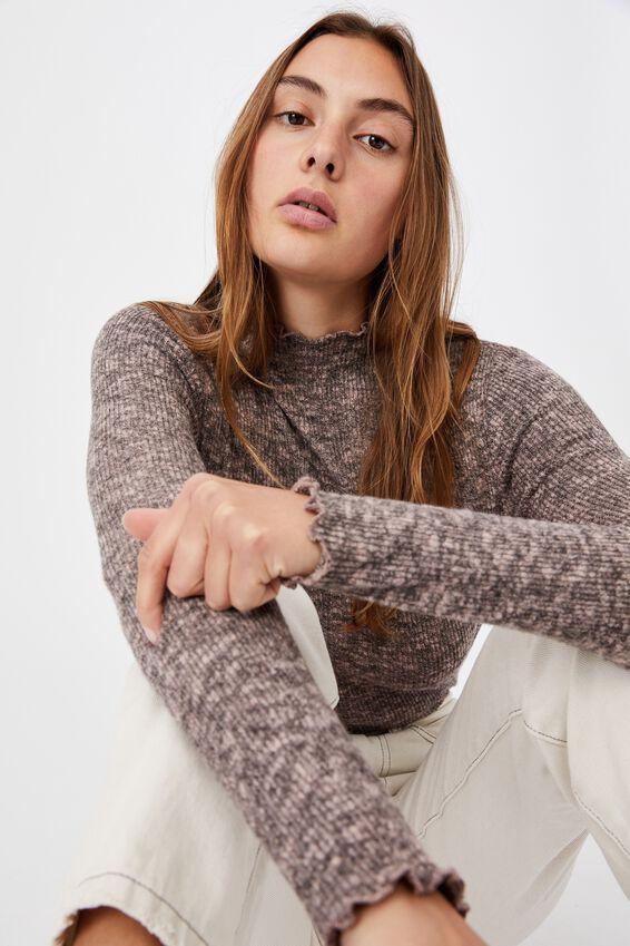 Leona Lettuce Long Sleeve Top, SAND DUNE