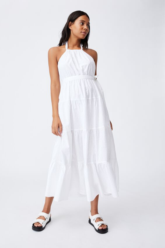 Woven Daisy Halter Neck Maxi Dress, WHITE