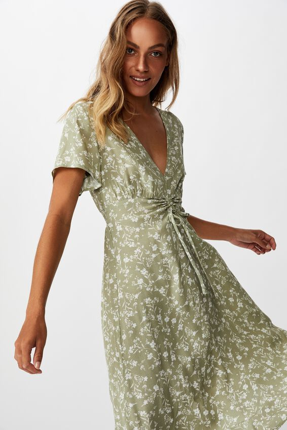 Woven Issa Gathered Front Midi Dress, INDI FLORAL TEA