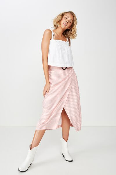 Woven Melanie Wrap Midi Skirt, ABBY GINGHAM ROSE TAN