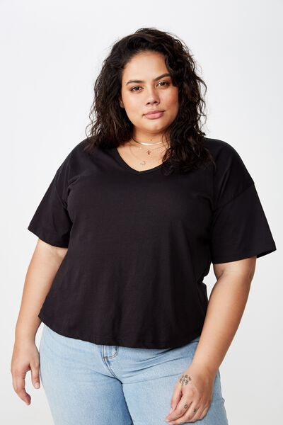 Curve Relaxed V Neck Tee, BLACK
