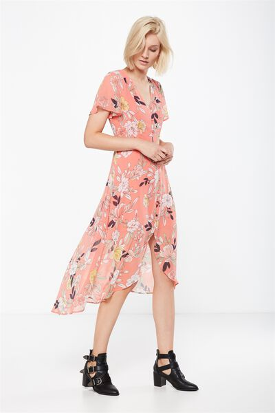 Woven Georgia Short Sleeve Maxi Dress, PHOEBE FLORAL STARFISH