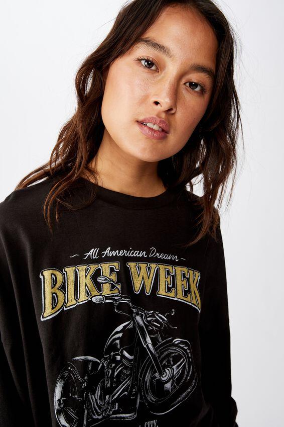 Tbar Brianna Graphic Long Sleeve, BIKE WEEK/WASHED BLACK