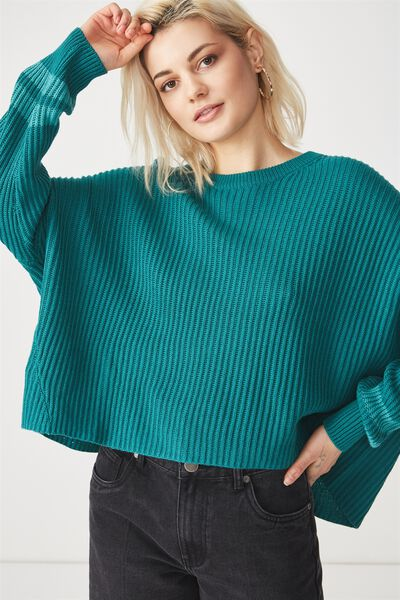 Archy Cropped Pullover, TEAL GREEN/PORCELAIN GREEN ARMBANDS