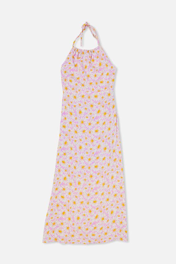 Woven Harper Tie Back Halter Midi Dress, JOSIE DAISY POWDER LILAC