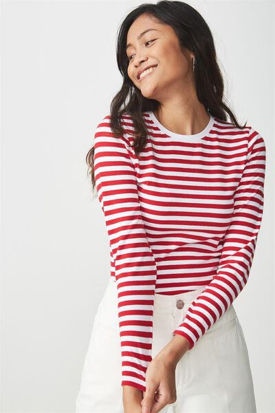 Basic Fitted Crew Long Sleeve Top, ANNA STRIPE WHITE/JESTER RED