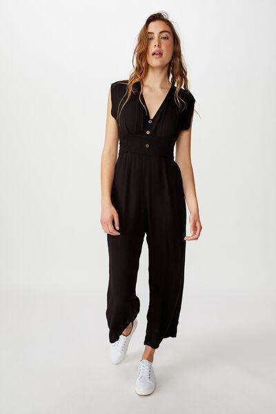 Woven Lilah Deep V Jumpsuit, BLACK