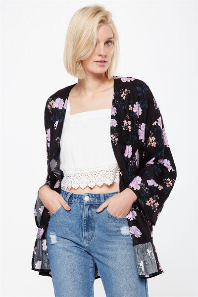 Flora Frill Kimono, ALICIA FLORAL BLACK