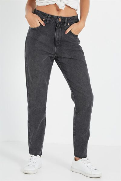 High Rise Relaxed 90S Jean, BLACK STONE TRASHED HEM (WHITE WEFT)