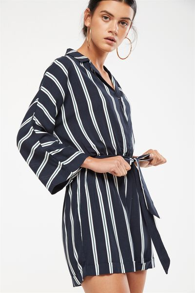 Woven Dani 3/4 Sleeve Collar Playsuit, AMY VERTICAL STRIPE TOTAL ECLIPSE